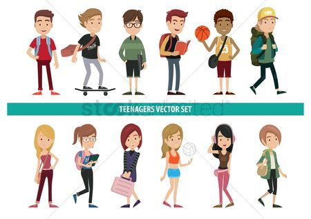Activities : Collection of teenagers with various activities