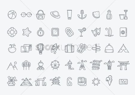 Wheel : Collection of travel icons