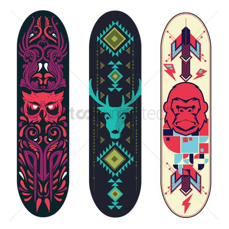Owl : Collection of tribal animal designs on skateboard