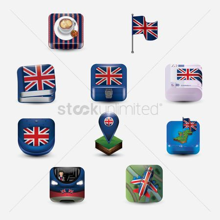 Biscuit : Collection of united kingdom general icons