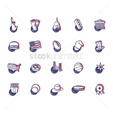 White house : Collection of us general icons