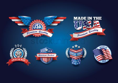 Flag : Collection of usa badges