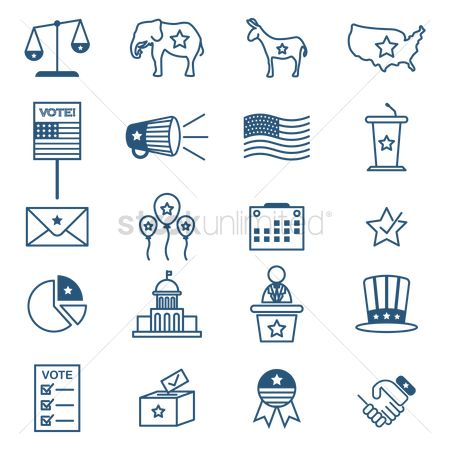 Microphones : Collection of usa election icons
