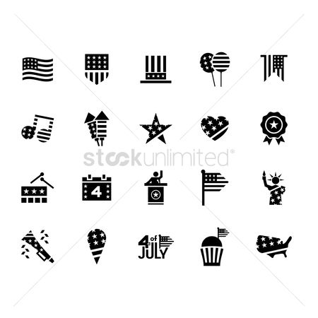 Firecracker : Collection of usa icons
