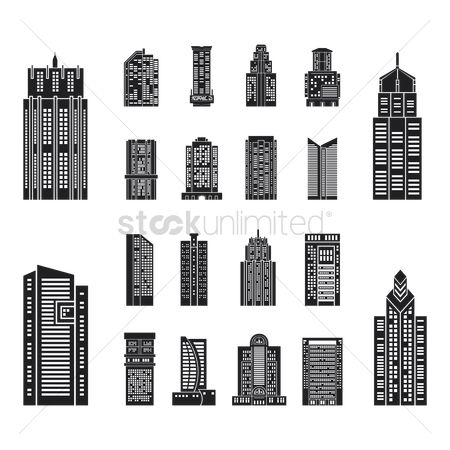 Towers : Collection of various building silhouettes
