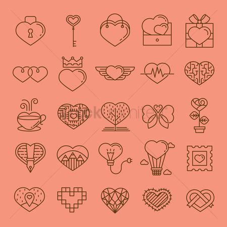 Boxes : Collection of various heart shaped icons