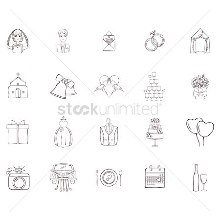 Boxes : Collection of wedding icons