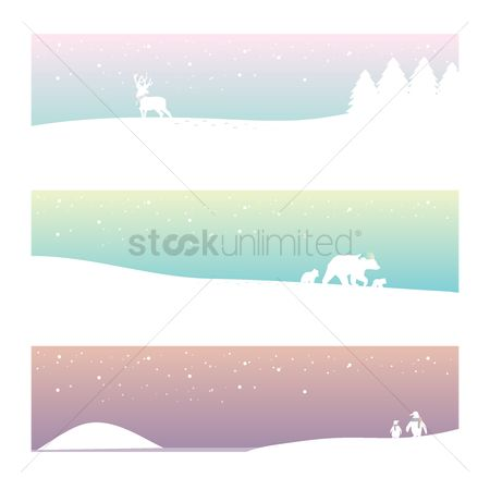 Penguins : Collection of winter banner designs