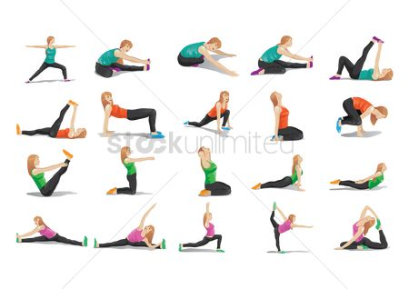 Lifestyle : Collection of woman doing yoga