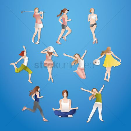 Posing : Collection of women doing various activites