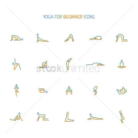 Health cares : Collection of yoga stretching icons