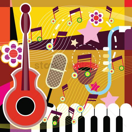 Microphones : Colorful abstract music background