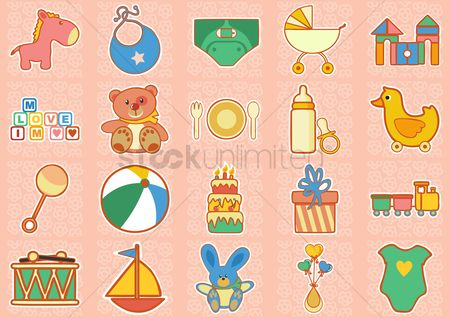 Plates : Colorful baby icons