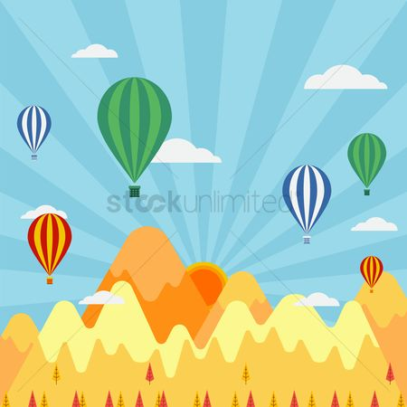 Festival : Colorful hot air balloons