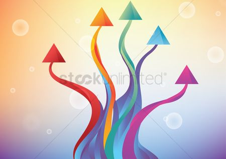 Increase : Colorful textured arrows set illustration with bubbles background