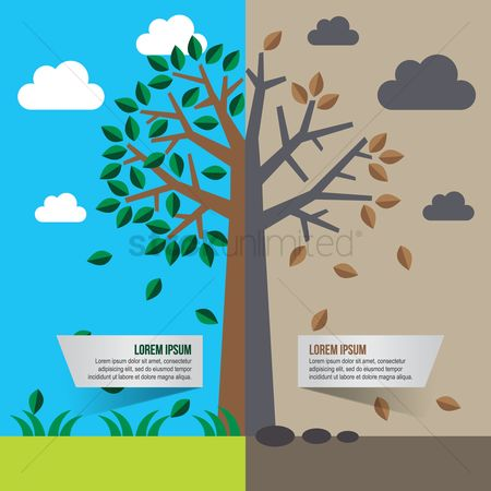 Pollutions : Comparison of two sides of a tree