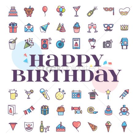 Gifts : Compilation of birthday related icons