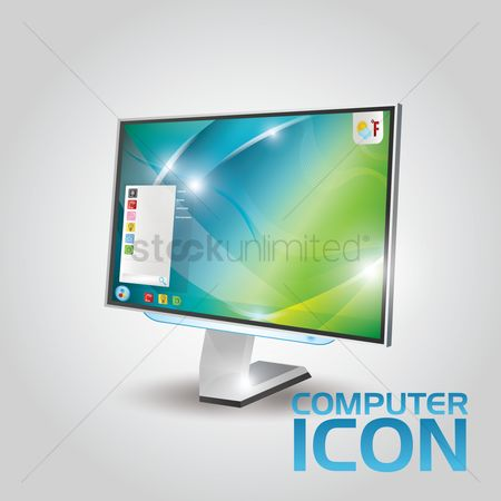 Electronic : Computer monitor icon