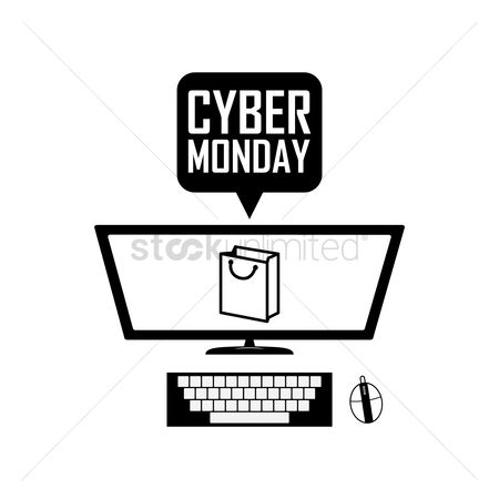 Terms : Computer with cyber monday speech bubble
