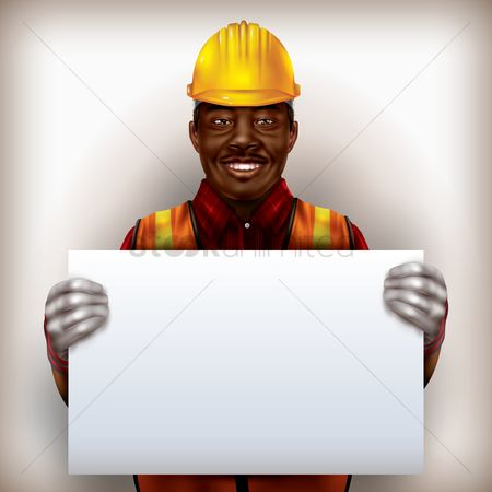 Builder : Construction worker holding placard