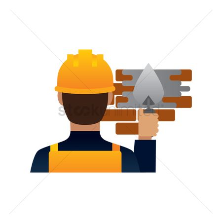 Builder : Construction worker plastering the wall