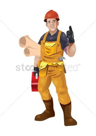 Builder : Construction worker with blueprints and toolbox in hand