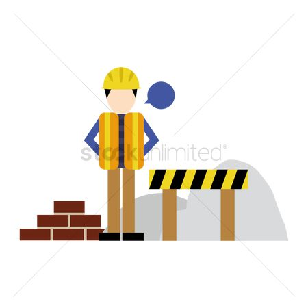 Barrier : Construction worker with brick and road barrier