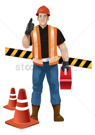 Builder : Construction worker with toolbox