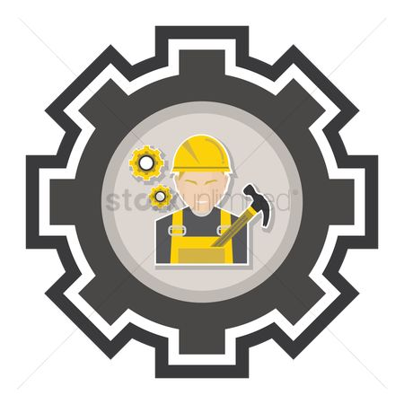 Builder : Construction worker with tools
