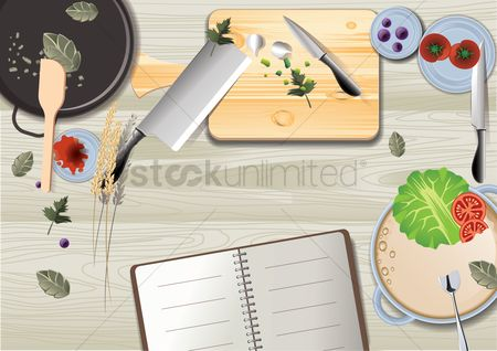 Notebooks : Cooking flay lay design