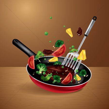 Handles : Cooking vegetable and meat on a frying pan