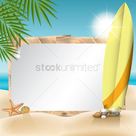 Whiteboard : Copy space with tropical theme