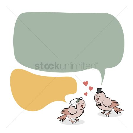 Love speech bubble : Couple bird message