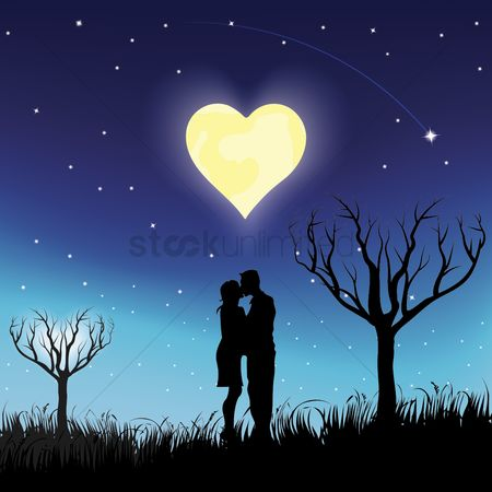 Heart shape : Couple kissing outdoors