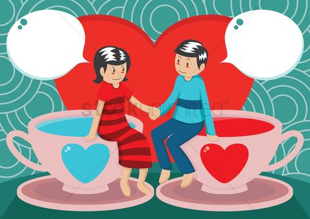 Love speech bubble : Couple sitting over coffee