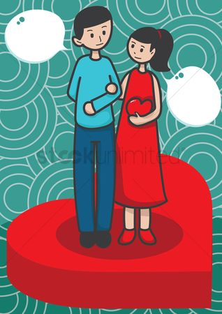 Love speech bubble : Couple standing on heart