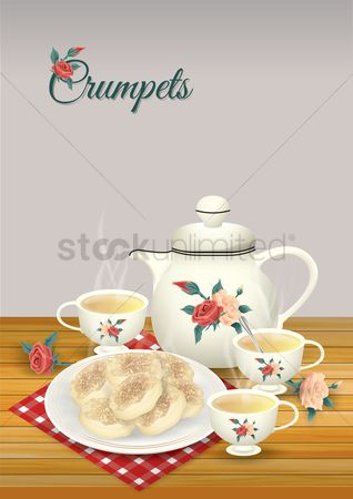 Plates : Crumpets and tea