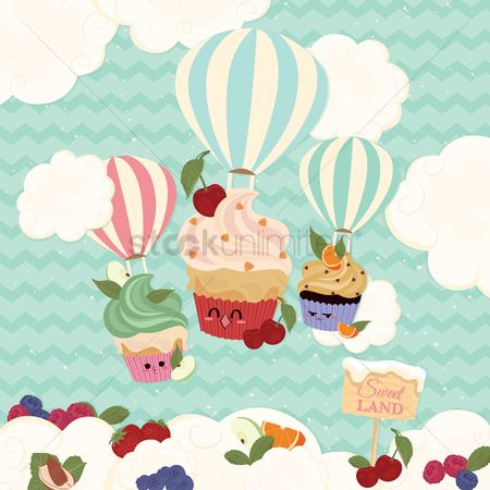 Fruit : Cupcakes with hot air balloons