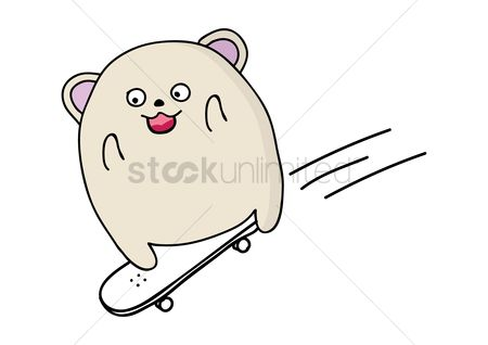 Skateboard : Cute animal playing skateboard