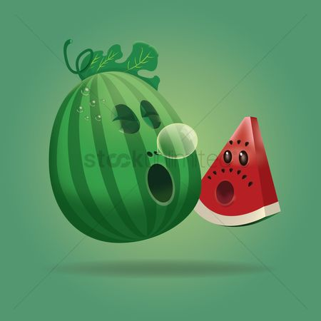 Slice : Cute cartoon watermelon