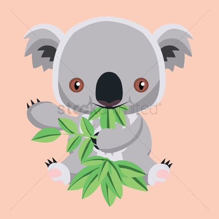 Eat : Cute koala bear cartoon