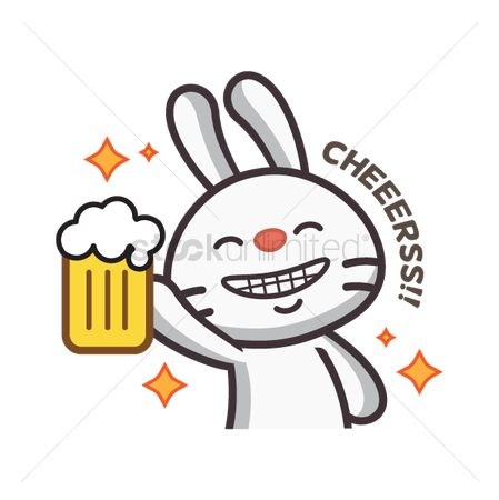 Cheering : Cute rabbit saying cheers