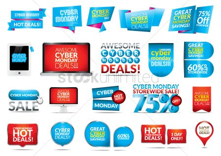 Monday : Cyber monday set icon