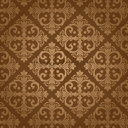 Wallpaper : Damask vintage brown patter