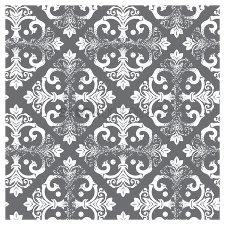 Ornament : Damask vintage gray and white pattern