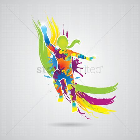 Kids : Dancing girl with colorful splash