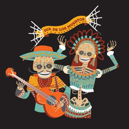 Traditions : Day of the dead musician and dancer