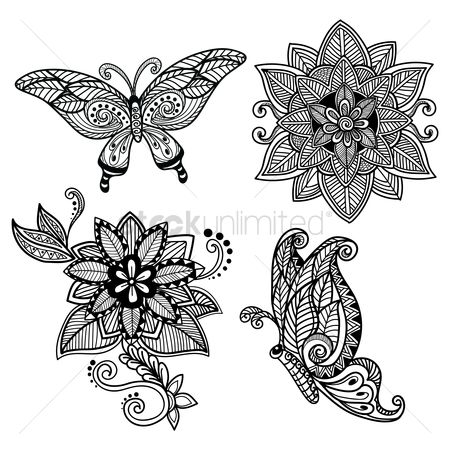 Patterns : Decorative butterfly and flower set