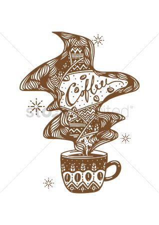 Coffee : Decorative coffee cup design