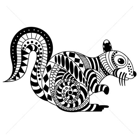 Linear : Decorative squirrel design